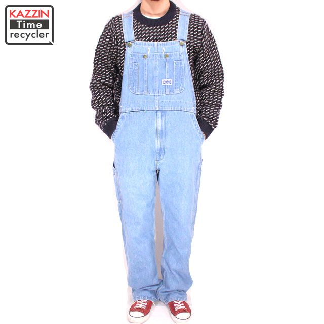 古着 90s BIG SMITH デニムオーバーオール★Sサイズ W33 ブルー プレゼント ギフト 衣装