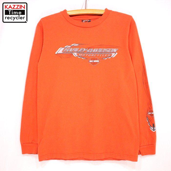 古着 HARLEYDAVIDSON 長袖Tシャツ★Sサイズ オレンジ