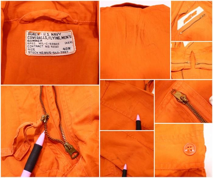 e02502fdab79 Old clothes 50s VINTAGE U.S.NAVY summer flight suit ☆ medium size orange