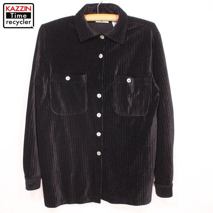 90年代 長袖シャツ 黒 ユーズド USED 中古 Mサイズ ベロアシャツ 激安通販 レディース 期間限定で特別価格 古着 ブラック 90s