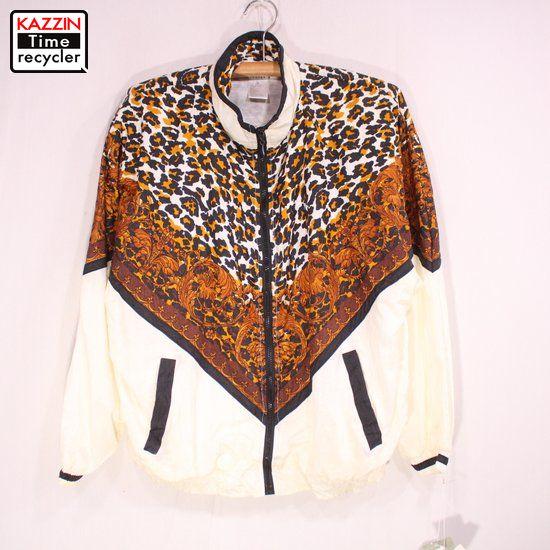 古着 80s 柄物 ナイロンジャケット DEAD STOCK 未使用品 ★ XLサイズ ホワイト:Vintage古着屋 KAZZINTimerecycler