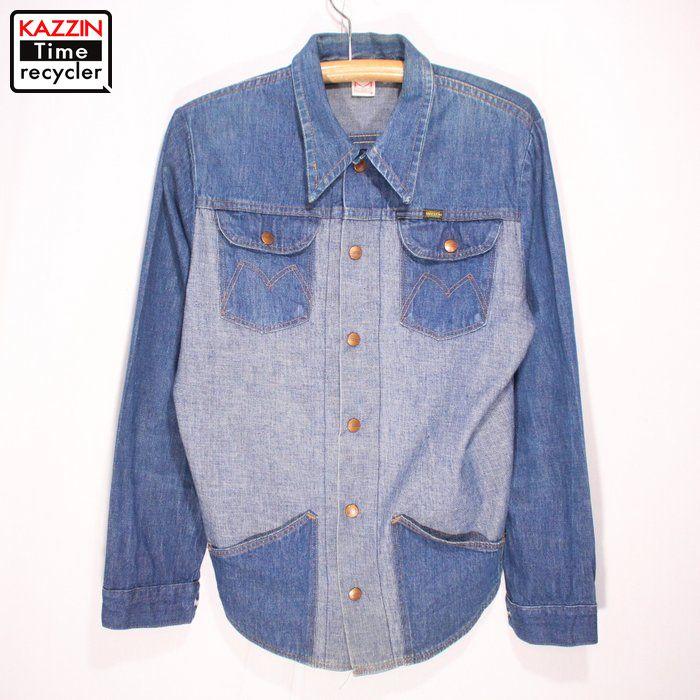 古着 70s MAVERICK デニムシャツ★Mサイズ ブルー