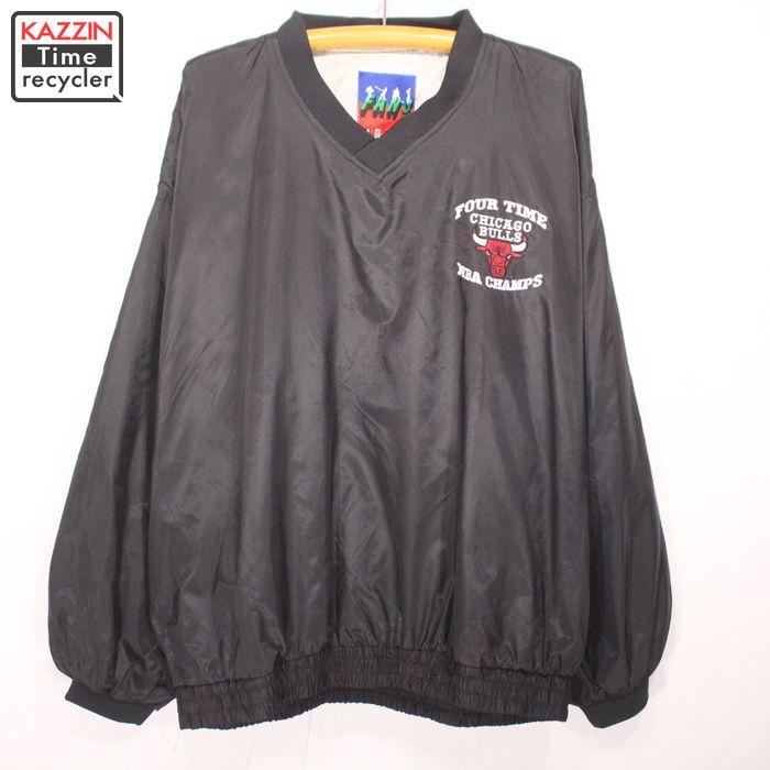 古着 90s NBA Chicago Bulls プルオーバー ナイロン ジャケット★XLサイズ ブラック