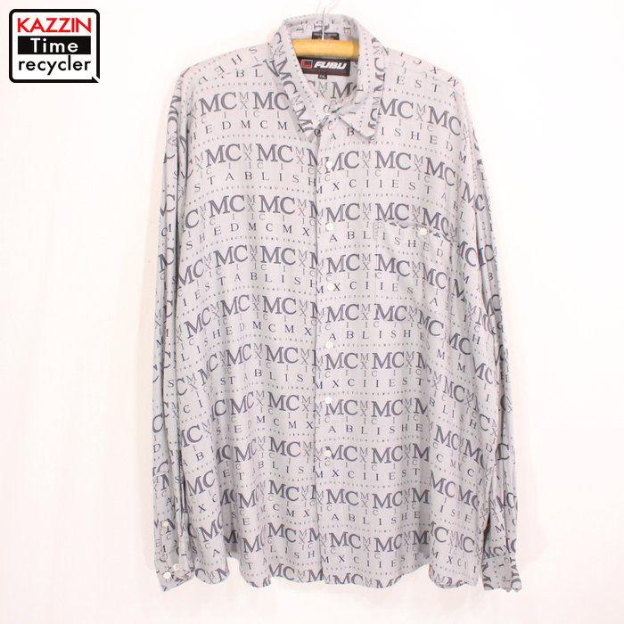 古着 90s FUBU 総柄 レーヨンシャツ★XLサイズ グレー
