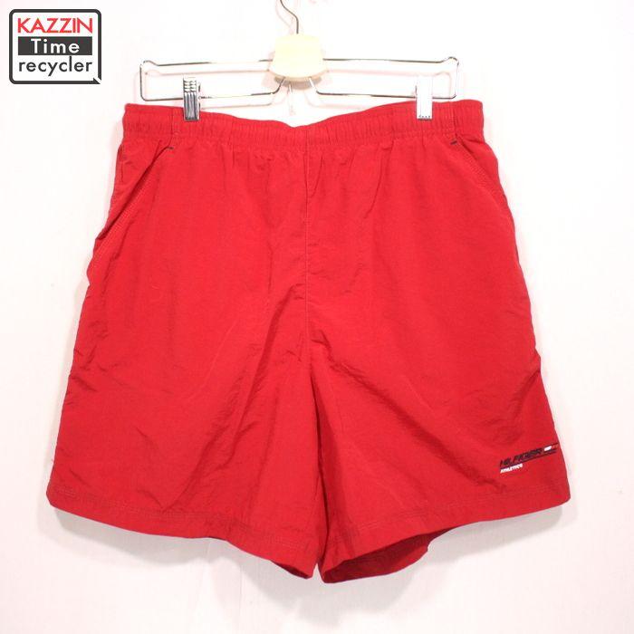 2000年代製 トミーヒルフィガー スイムショーツ Lサイズ お買い得 USA買い付け 古着 中古 トミー TOMMY ユーズド ショートパンツ 赤 至上 レッド