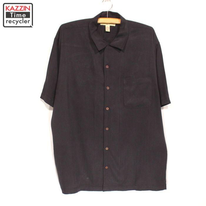 90年代 TOMMYBAHAMA 半袖シャツ ハワイアンシャツ シルクシャツ 黒 ストリート フェス 海 中古品 古着 Lサイズ アロハシャツ 90s 引き出物 USED ブラック トミーバハマ 刺繍 バック 店