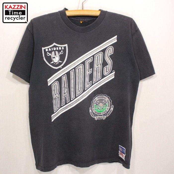 90年代 受賞店 Oakland Raiders 半袖Tシャツ アメフト アメリカ製 黒 中古品 注目ブランド USED USA製 90s オークランド レイダース ブラック Mサイズ NFL プリントTシャツ 古着