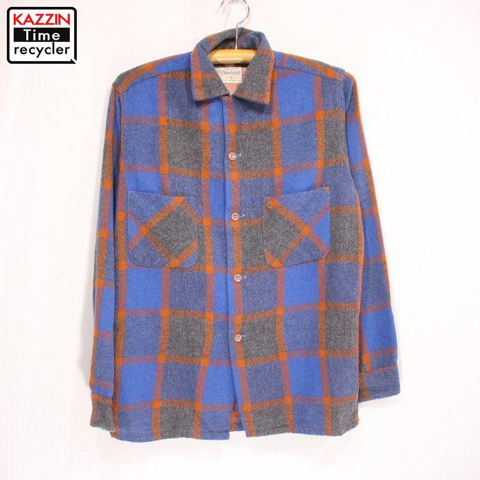 50s ビンテージ TOWNCRAFT ウールシャツ 古着 ★Lサイズ ブルー