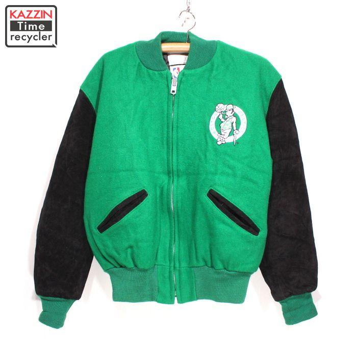 90s アメリカ製 NBA ボストン・セルティックス ジップ スタジャン 古着 ★ Lサイズ グリーン ブラック