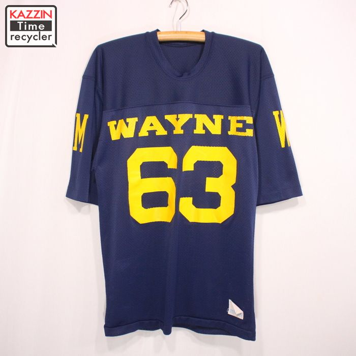 80s USA製 Champion メッシュ フットボールTシャツ 古着 ★ Sサイズ ネイビー