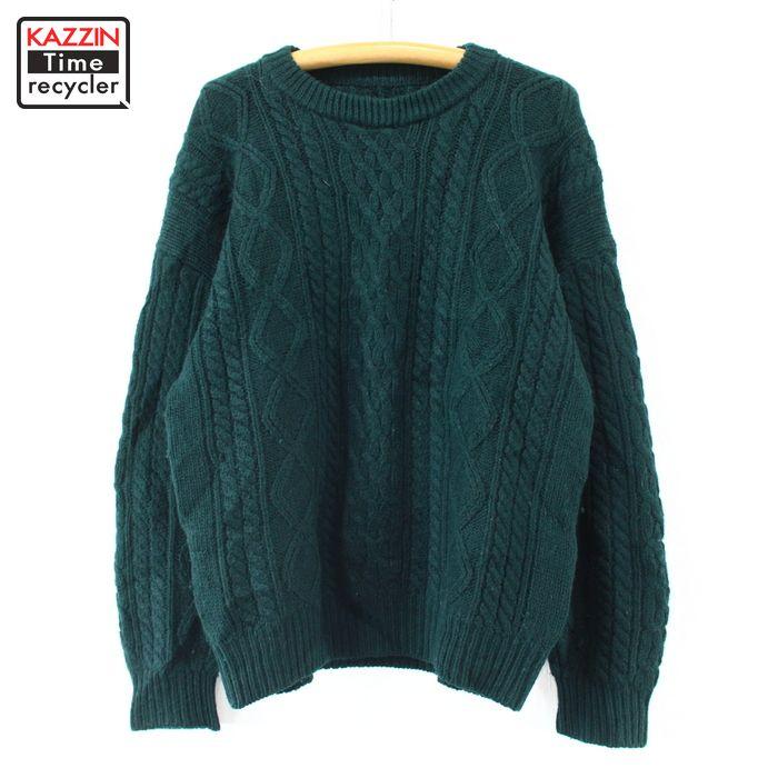 80~90s ウール アラン ニット セーター 古着 ★ Lサイズ グリーン