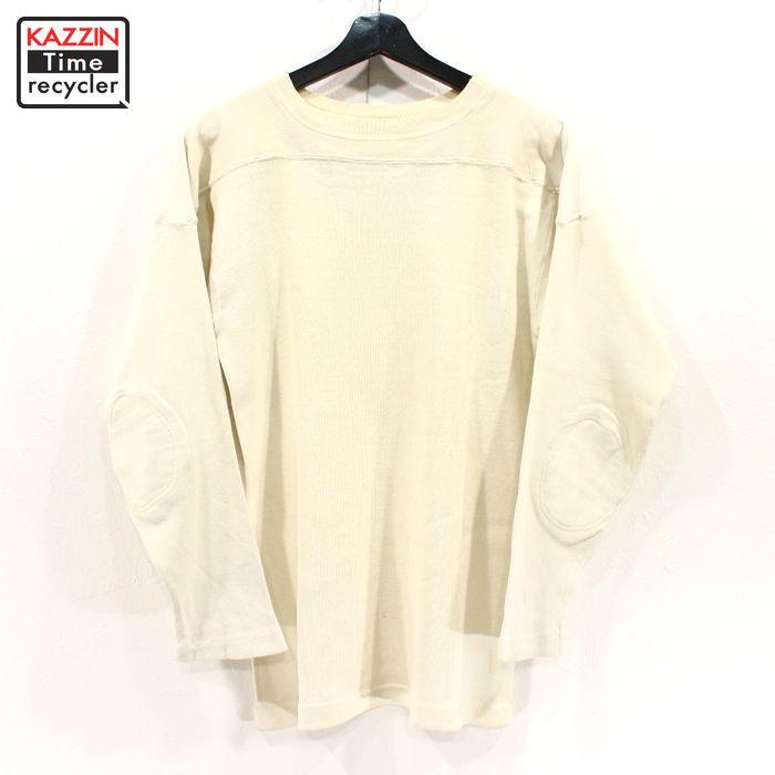 50~60s ヴィンテージ 無地 コットン フットボール Tシャツ エルボーパッチ 古着 ★ Sサイズ ホワイト