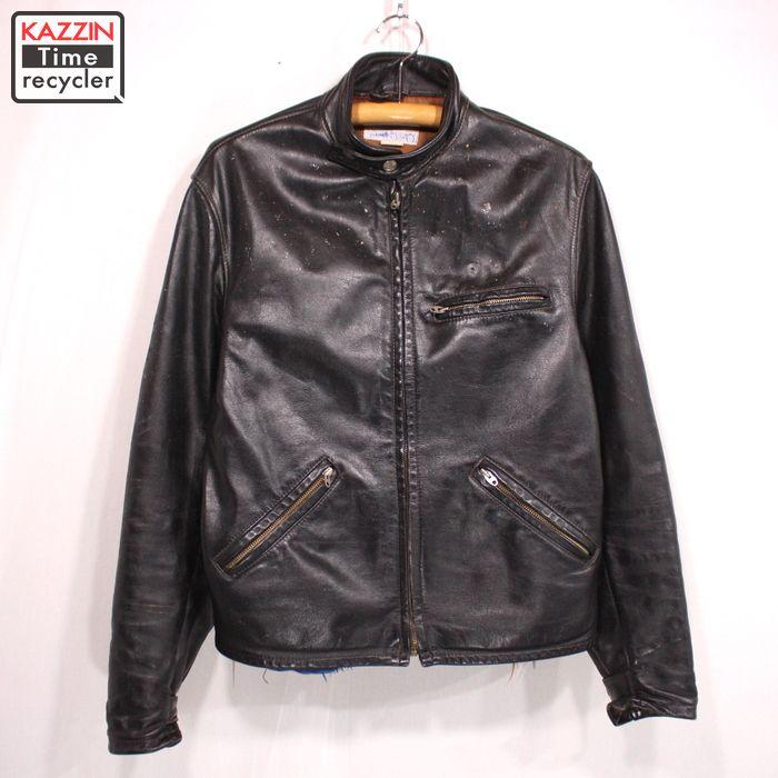 70s カナダ製 Sprung ヴィンテージ シングル ライダースジャケット 古着 ★ Lサイズ ブラック