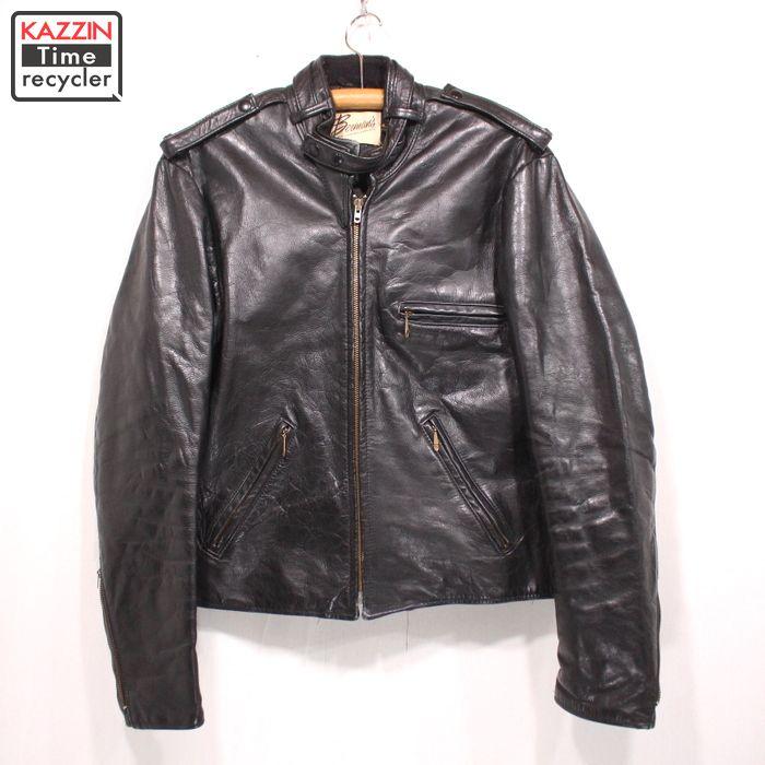 60s ヴィンテージ シングル ライダースジャケット 古着 ★ Mサイズ ブラック