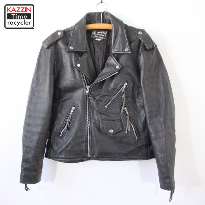 80s ダブル ライダース ジャケット 古着 ★ Lサイズ ブラック