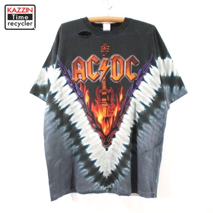 90s USA製 AC/DC ヘルズベルズ ヴィンテージ タイダイ バンドTシャツ 音楽 古着 ★ XLサイズ