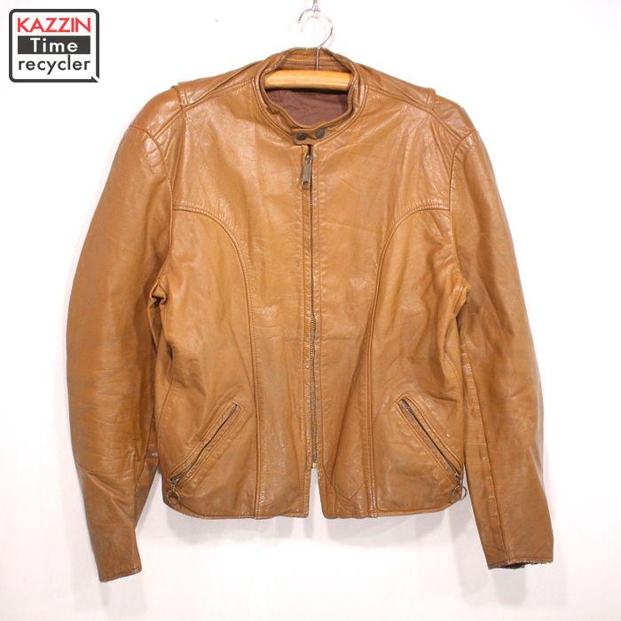 70s ヴィンテージ シングル ライダースジャケット 古着 ★ Lサイズ ブラウン