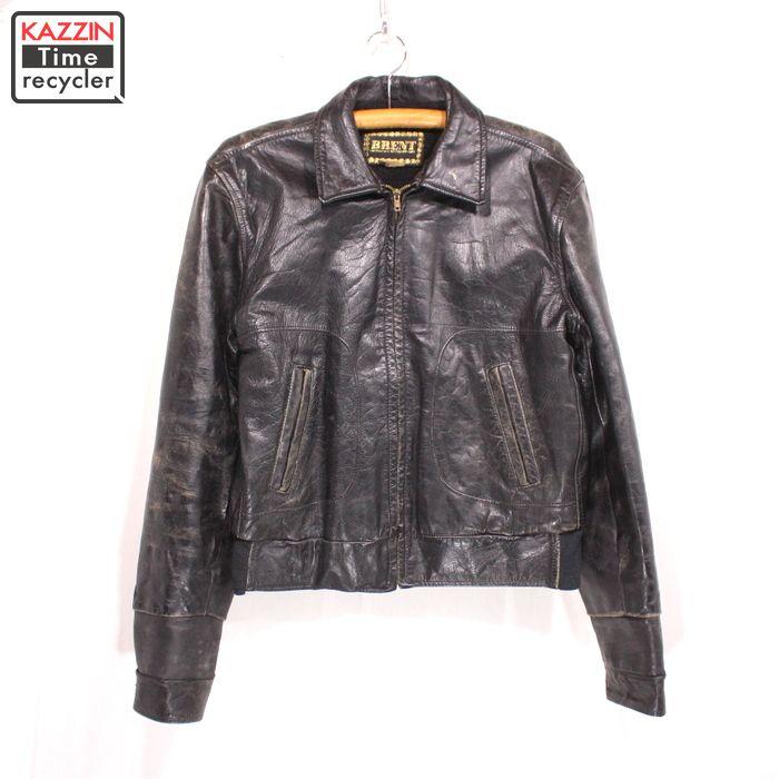 60s BRENT ヴィンテージ レザージャケット 古着 ★ Lサイズ ブラック