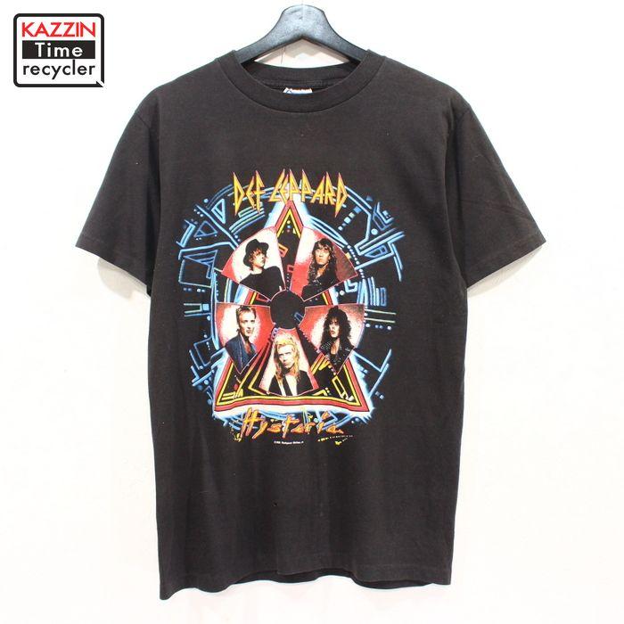 古着 80s USA製 ビンテージ デフレパード プリント 半袖 ロック Tシャツ ★ Sサイズ ブラック