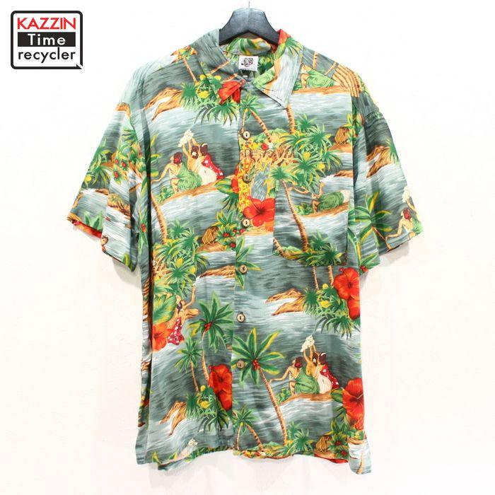 90年代 ハワイアンシャツ 開襟 オープンカラー ビックサイズ 大きいサイズ アメカジ 中古品 セール品 USED 90s XLサイズ アロハ KENNINGTON 半袖 グレー 総柄 レーヨン 18%OFF 古着 シャツ