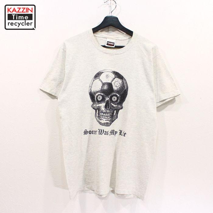 90年代 ドクロ柄 骸骨柄 灰色 アメカジ 定価の67%OFF 中古品 USED 引出物 90s スカル 古着 Mサイズ グレー Tシャツ プリント 半袖
