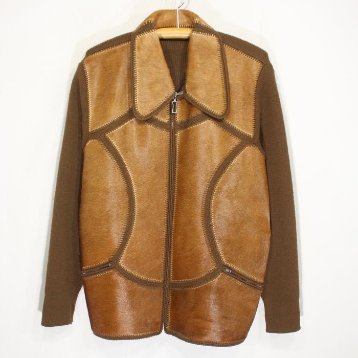 70s ヴィンテージ ハラコ ウール デザイン ジャケット ユーロ 古着 ★ Mサイズ ブラウン