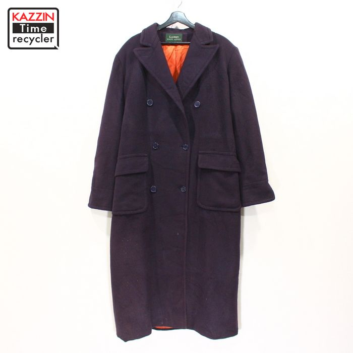 90s USA製 ローレン RALPH LAUREN レディース キャメルヘア ロング コート 古着 ★ XLサイズ ネイビー