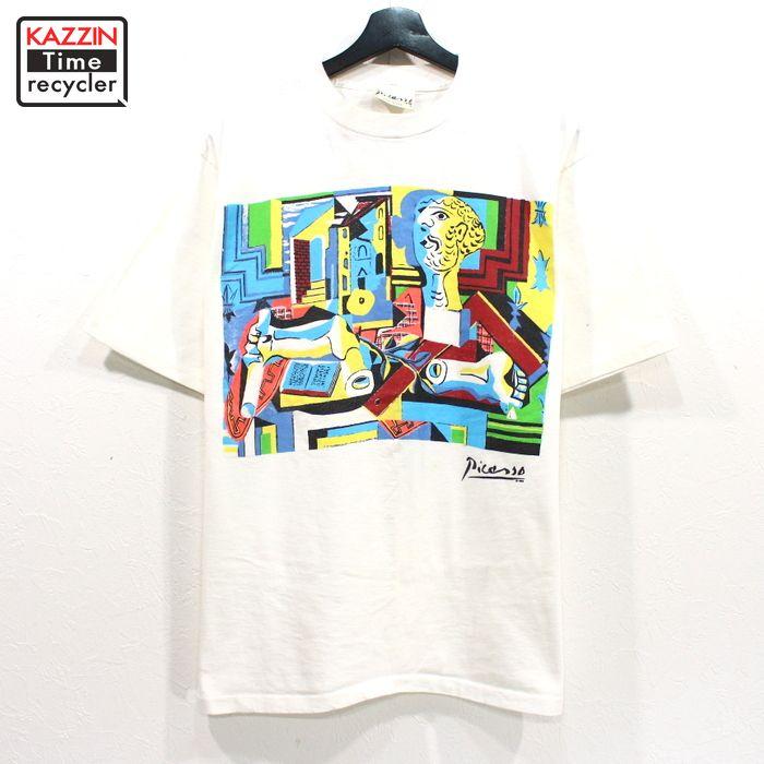 80s ピカソ アート プリント Tシャツ USA製 古着 ★ Mサイズ ホワイト