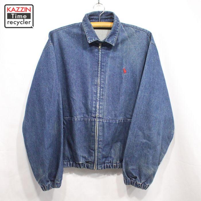 90s ラルフローレン デニム スイングトップ ジャケット 濃紺 古着 ★ XLサイズ ブルー