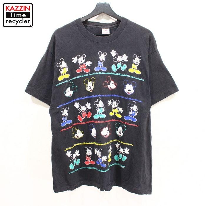 90年代 ディズニー Mickey 黒 アメリカ製 アメカジ 中古品 USED 90s USA製 Disney 安心と信頼 プリント 供え ブラック 半袖 キャラクターT Tシャツ 古着 Lサイズ ミッキーマウス