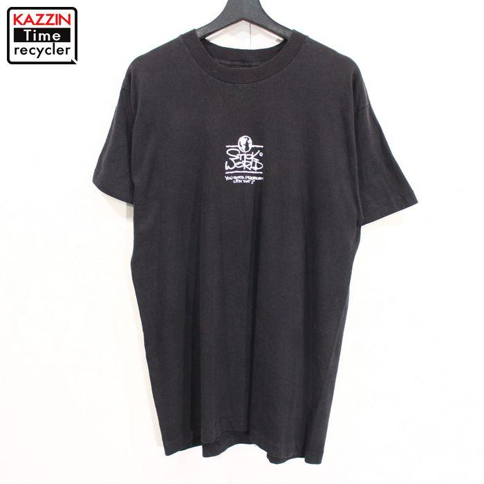 90年代 アメリカ製 ご注文で当日配送 スティックワールド 棒人間 黒 スケート スケボー アメカジ 中古 USED 90s YES I 表記Lサイズ 古着 USA製 正規激安 WORLD ビンテージ ブラック Tシャツ AM STICK