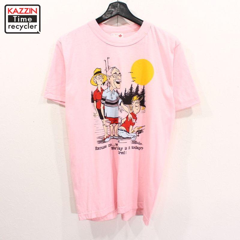 90年代 半袖Tシャツ アメコミ シュール おもしろ アメカジ 中古 USED 90s お金を節約 カナダ製 表記Mサイズ 買収 半袖 Tシャツ ピンク コミック イラスト プリント 古着