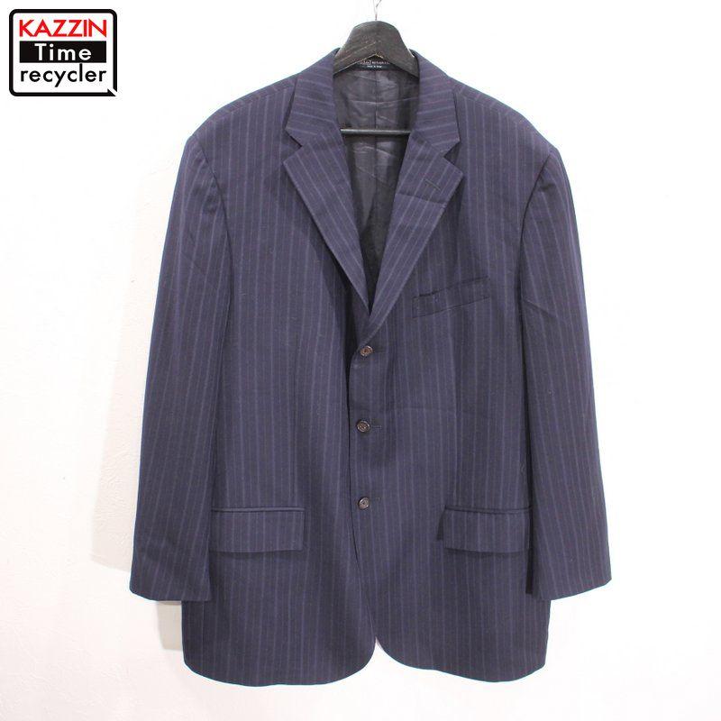 90年代 RALPH LAUREN スーツ 紺 オーバーサイズ 中古品 AL完売しました。 USED ラッピング無料 90s イタリア製 ラルフローレン ウール ジャケット ネイビー ストライプ柄 3つボタン ビックサイズ テーラード 大きいサイズ 表記46Rサイズ 古着