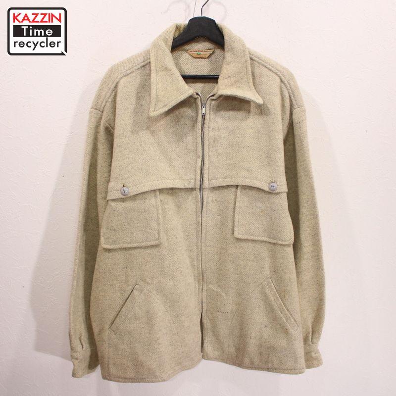 60年代 vintage マート アウター ウールジャケット ベージュ オフホワイト ファッション通販 アメカジ 中古 USED 60s XLサイズ 古着 厚手ウール CPO キナリ MONTMAC ビンテージ ジャケット シャツ ビッグサイズ