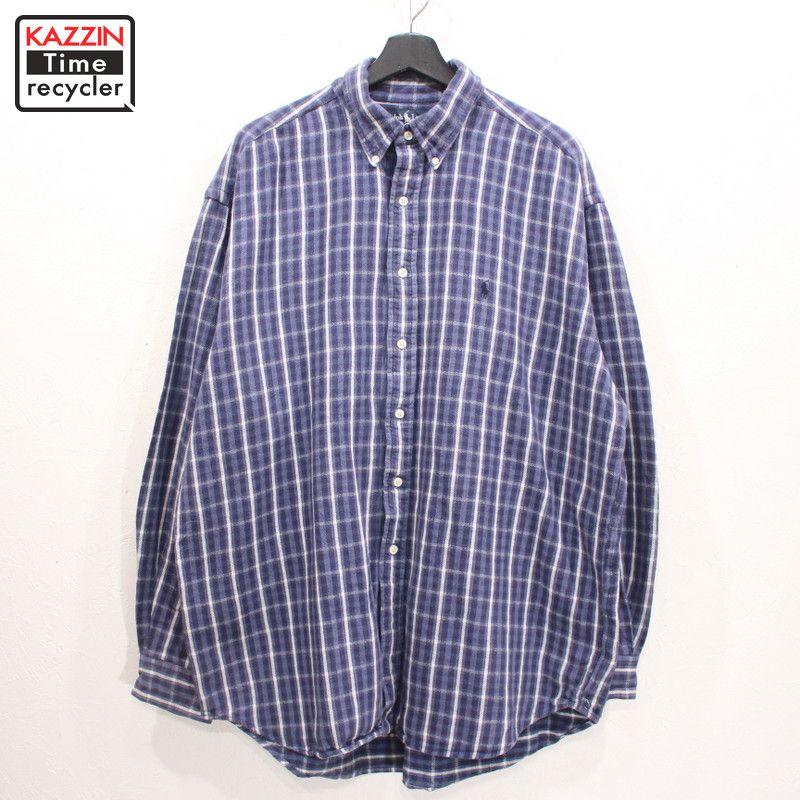 90年代 RALPH LAUREN チェックシャツ 青 税込 白 大きいサイズ 中古品 USED 商品 アメカジ 90s ラルフローレン シャツ ボタンダウン 表記XLサイズ インド綿 ビッグサイズ ブルー 古着 フランネル オーバーサイズ チェック柄 長袖