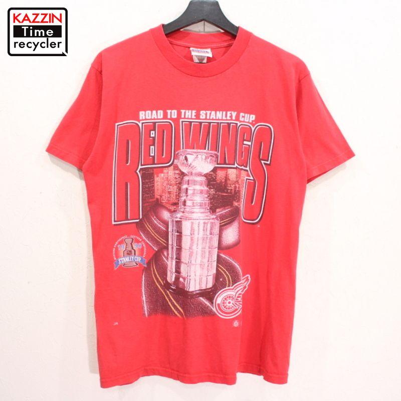 90年代 REDWINGS 赤 スポーツ 中古品 USED 90s 全品最安値に挑戦 NHL デトロイト Tシャツ 古着 表記Mサイズ 大注目 ホッケー 半袖 レッド プリント レッドウィングス
