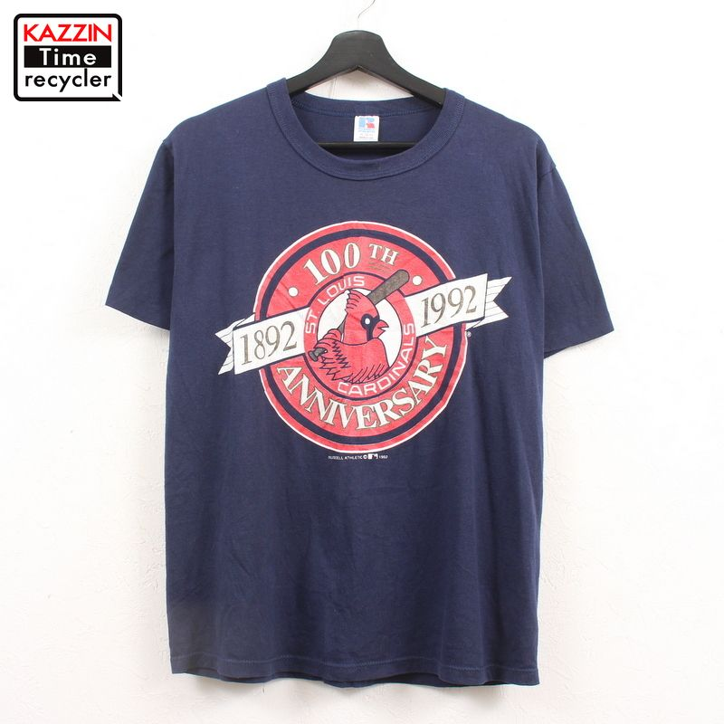90年代 Cardinals アメリカ製 紺 野球 ベースボール メジャー アメカジ 中古品 USED 90s USA製 古着 セントルイス 信憑 MLB ネイビー カージナルス セール価格 表記Mサイズ プリント 100周年記念 半袖 Tシャツ