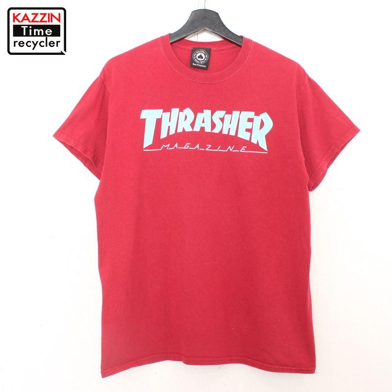 赤 スケーター スケート 一部予約 ストリート オールドスクール 中古品 USED 古着 表記Mサイズ スラッシャー 半袖Tシャツ レッド ロゴプリント THRASHER 大人気
