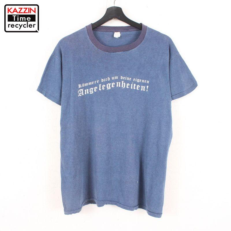 80年代 ブラックレター 紺 ロゴTシャツ シンプル アメカジ 雰囲気 中古 USED Tシャツ プリント ヴィンテージ ネイビー ギフ_包装 80s 半袖 古着 レタリング セール品 Lサイズ