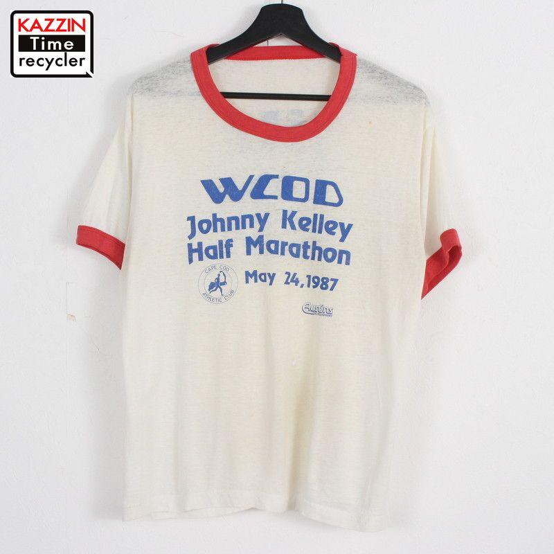 80年代 ヒッピー マラソン 記念T 至上 シャツ ボロ 企業モノ アメカジ Mサイズ相当 ホワイト プリント 80s Tシャツ 物品 半袖 リンガー