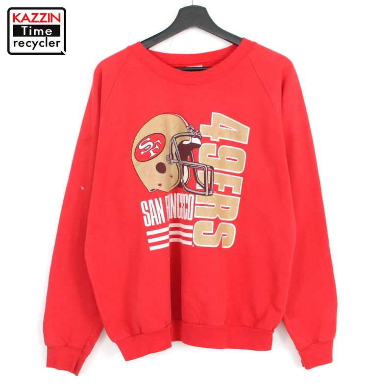 90年代 アメリカ製 ラグラン 信託 アメフト アメカジ ストリート 赤 中古品 USED ビッグシルエット 大きいサイズ 90s ビッグサイズ 表記XLサイズ サンフランシスコ レッド NFL USA製 国内正規品 フォーティナイナーズ プリント スウェット 長袖 古着