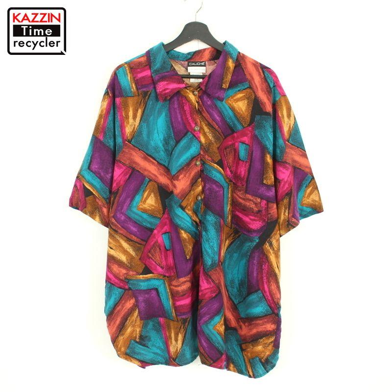 80年代 アメリカ製 カラフル 半袖シャツ レーヨンシャツ ビッグシルエット 中古品 レディース 80s USA製 内祝い デザインシャツ ビッグサイズ 古着 総柄 レーヨン オーバーサイズ 店 半袖 表記44 XL~サイズ相当