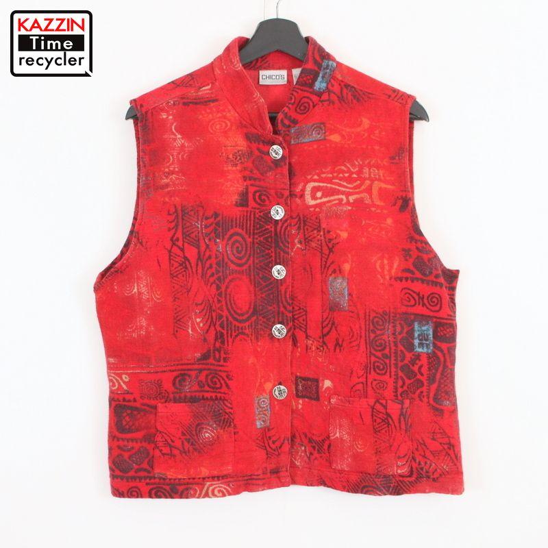 物品 90年代 赤 中古品 USED 90s CHICO'S 総柄 人気ブレゼント! レディース 古着 レッド コットン ベスト Mサイズ相当