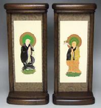 モダン掛軸  中(両脇2枚セット)家具調仏具 ミニ仏壇 仏壇 小型上置型仏壇 家具調仏壇 現代