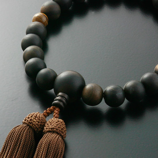 """Rosaries and Rosary """"pure silk head tuft ebony ( Prime ground ) 2 natural Tiger eye stone (for men) ' short hand wheel"""