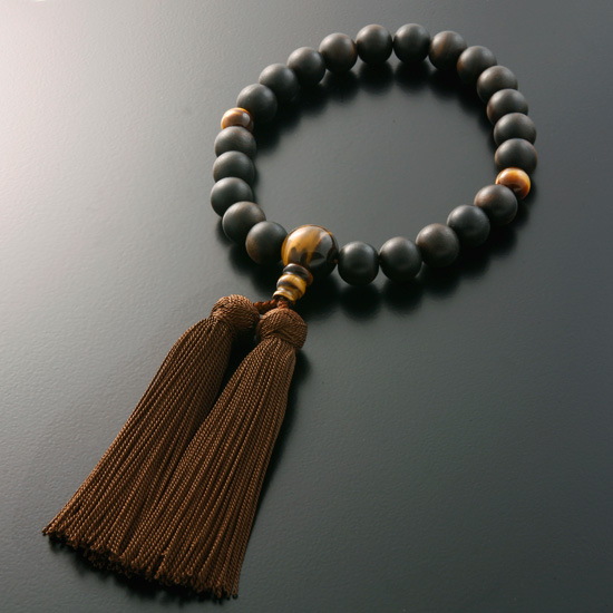 "Rosaries and Rosary ""! Miyako bunch ebony (great ground) Tiger eye stone style (for men) ' short hand wheel (breath / bracelets / featured / funeral / funeral / ceremonial / men's / store / Rakuten)"