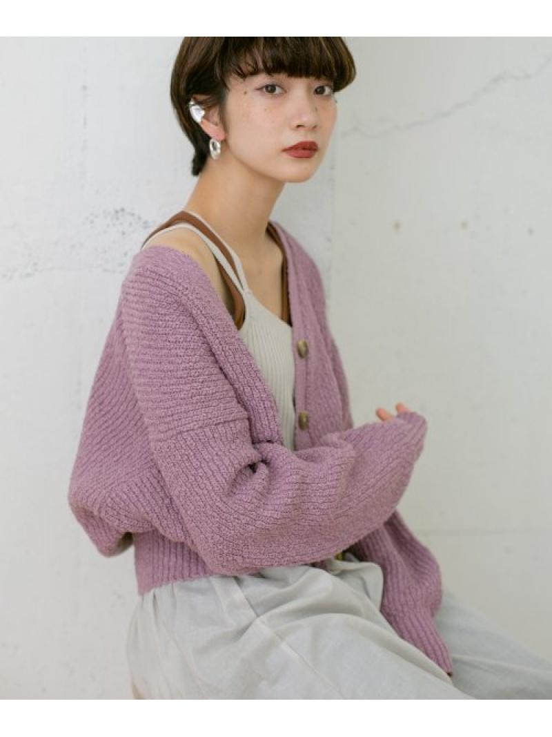 [Rakuten Fashion]【予約】ロングスリーブスラブカーディガン KBF ケービーエフ ニット カーディガン パープル ベージュ【先行予約】*【送料無料】