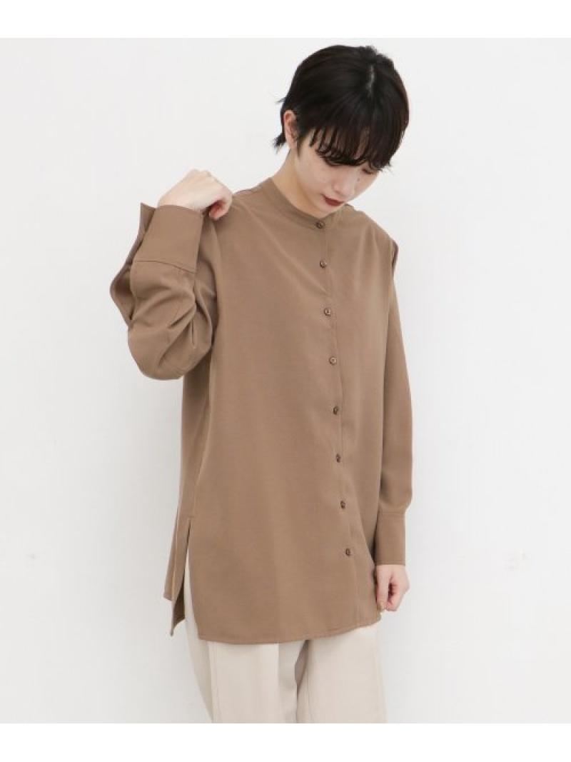 [Rakuten Fashion]バンドカラーシャツ KBF ケービーエフ シャツ/ブラウス シャツ/ブラウスその他 ブラウン ホワイト グレー【送料無料】