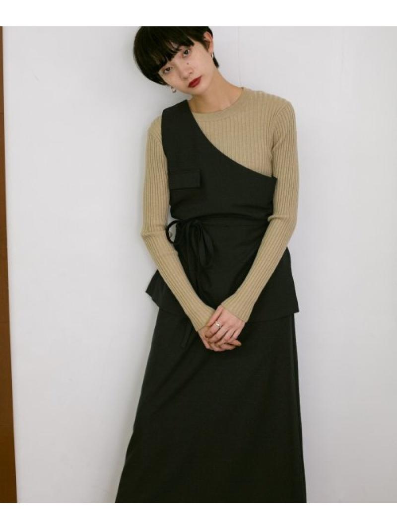 [Rakuten Fashion]ワンショルトップスSETスカート KBF ケービーエフ カットソー カットソーその他 ブラック ベージュ【送料無料】