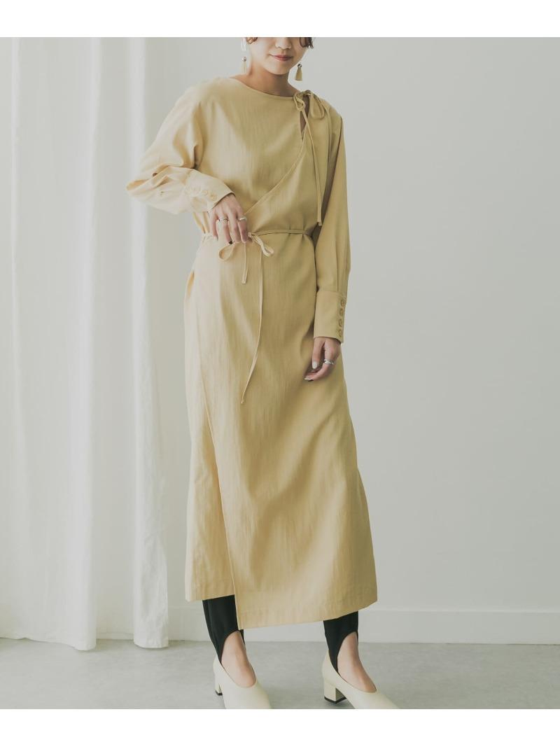 onepiece_holic 日本 KBF レディース ワンピース ケービーエフ SALE 60%OFF KBF+ 高価値 スリットネックラップワンピース ベージュ RBA_E 送料無料 ワンピースその他 ブルー Rakuten Fashion グレー